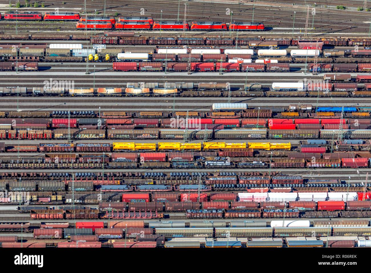 Aerial view, Hagen-Vorhalle marshalling yard, train wagons, freight trains, Hagen, Ruhr area, North Rhine-Westphalia, Germany, Europe, DEU, birds-eyes Stock Photo