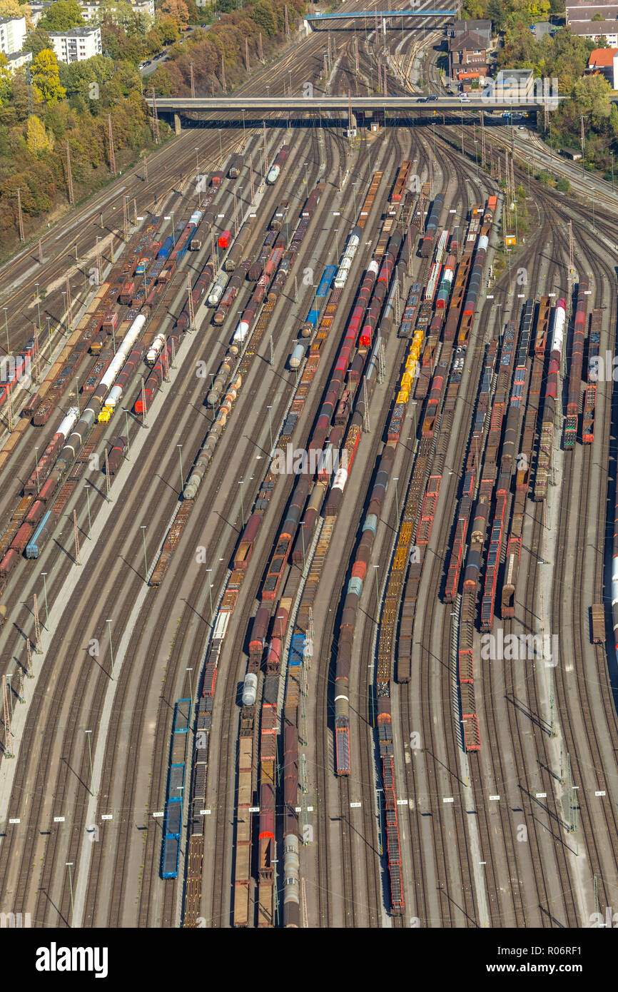 Aerial view, Hagen-Vorhalle marshalling yard, train wagons, freight trains, Hagen, Ruhr area, North Rhine-Westphalia, Germany, Europe, DEU, birds-eyes Stock Photo