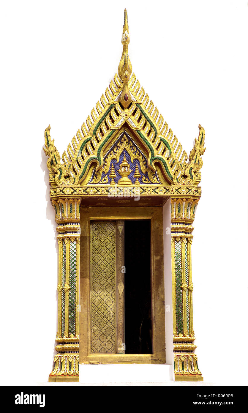 Architectural window detail from exterior view of the Buddhist temple in Damnoen Saduak Floating Market near Bangkok, Thailand - Stock Image