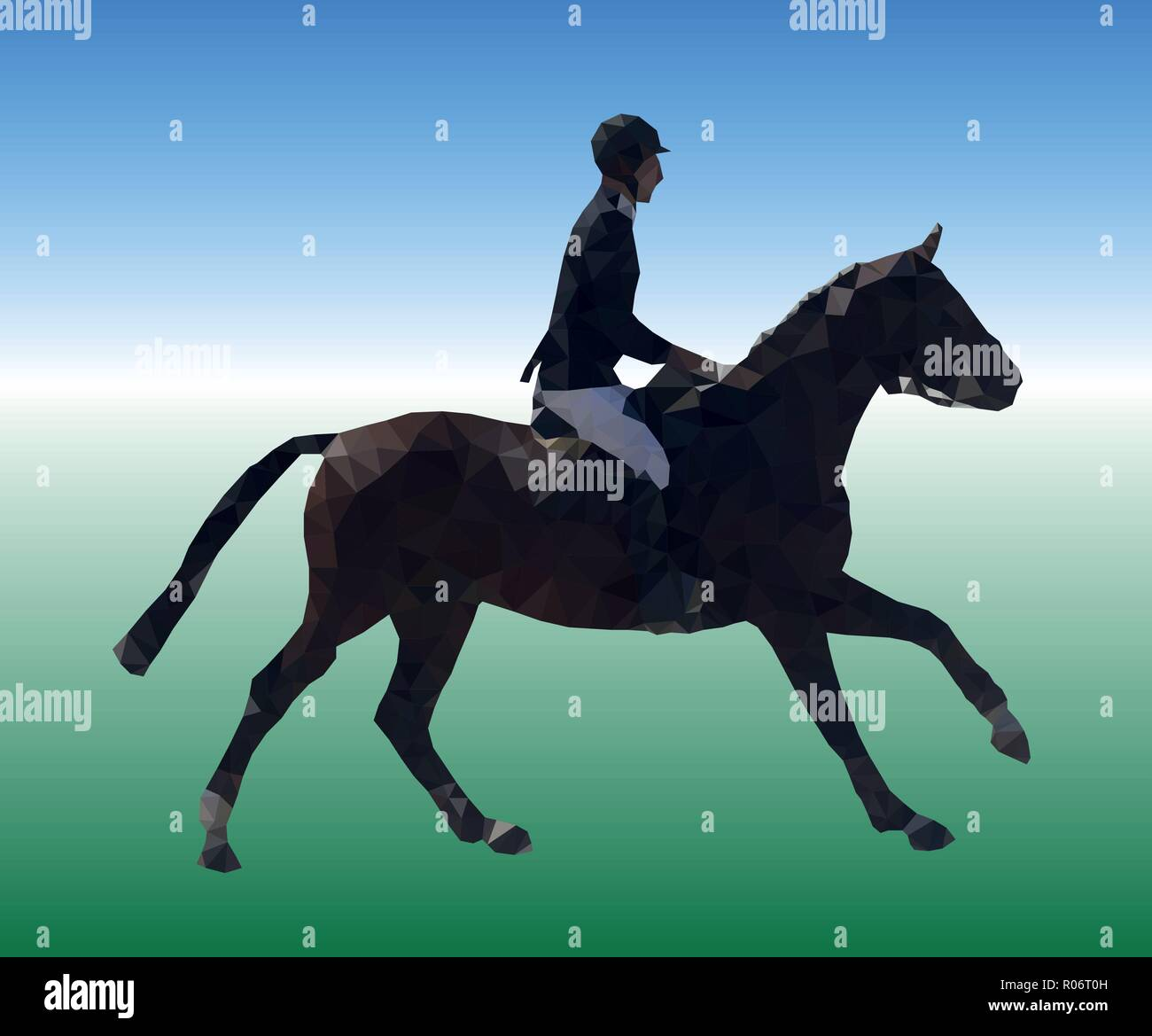 The rider is galloping on a dark bay horse. Low poly vector illustration. Equestrian theme. Image consisting of triangles of different sizes. - Stock Vector