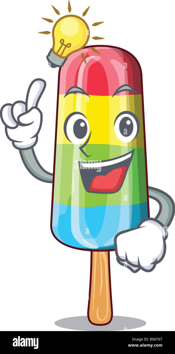 Have An Idea Colorful Ice Cream Stick On Mascot Stock Vector