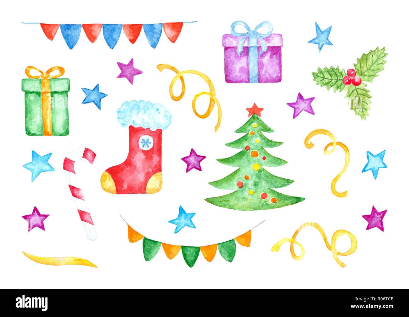 Colorful Christmas.Set Of Various Colorful Christmas Decorations Watercolor