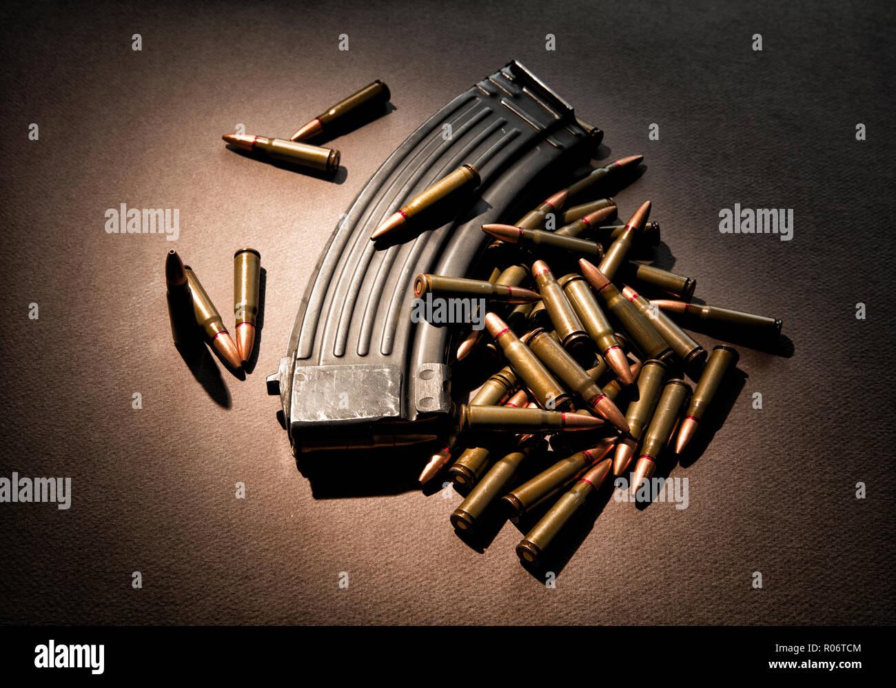 High capacity 30 round ammunition magazine with live ammunition. - Stock Image