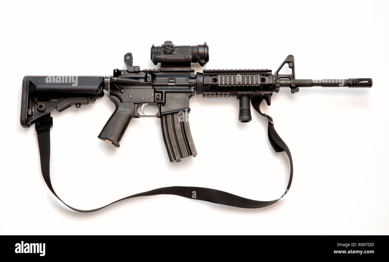 AR-15 assault rifle, also known as the M4 Carbine chambered in caliber 5.56mm (.223). - Stock Image