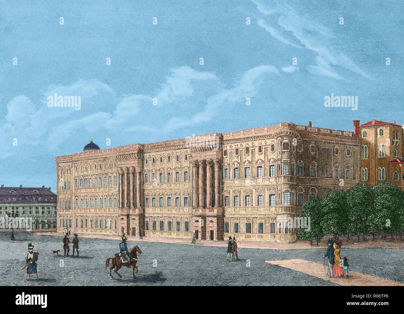 Berlín, Alemania. Palacio Real. El edificio más importante de la administración de Prusia. Grabado del siglo XIX. Coloreado. - Stock Image