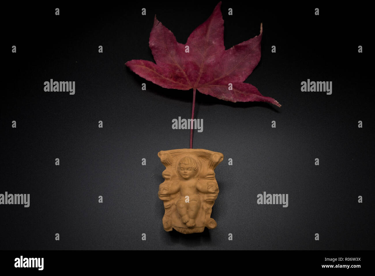 Baby Jesus Christ In The Manger On A Dry Leaf Isolated On Black