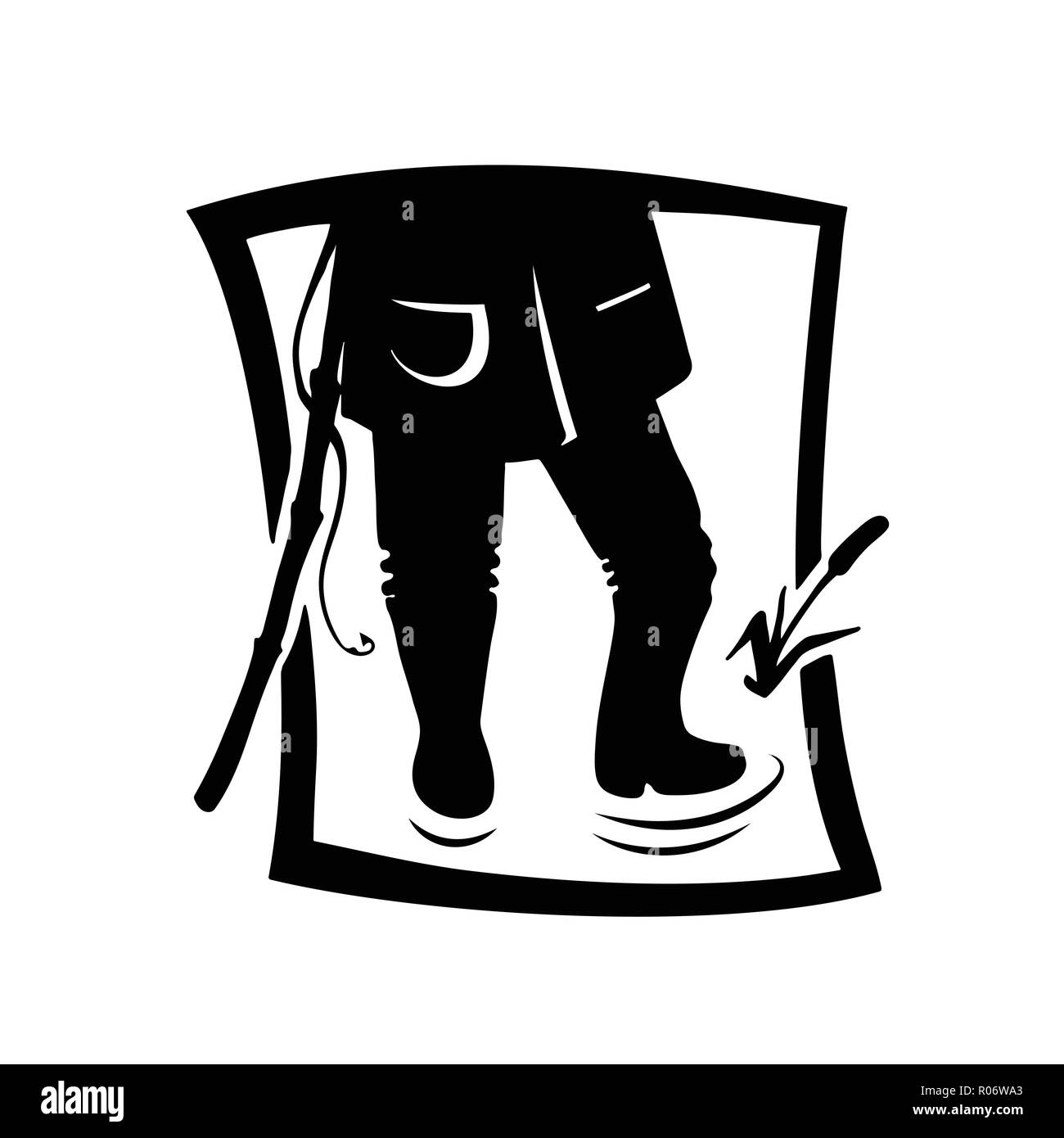Silhouette of fisher man. Vector illustration icon. Logotype of the fishing shop. - Stock Image