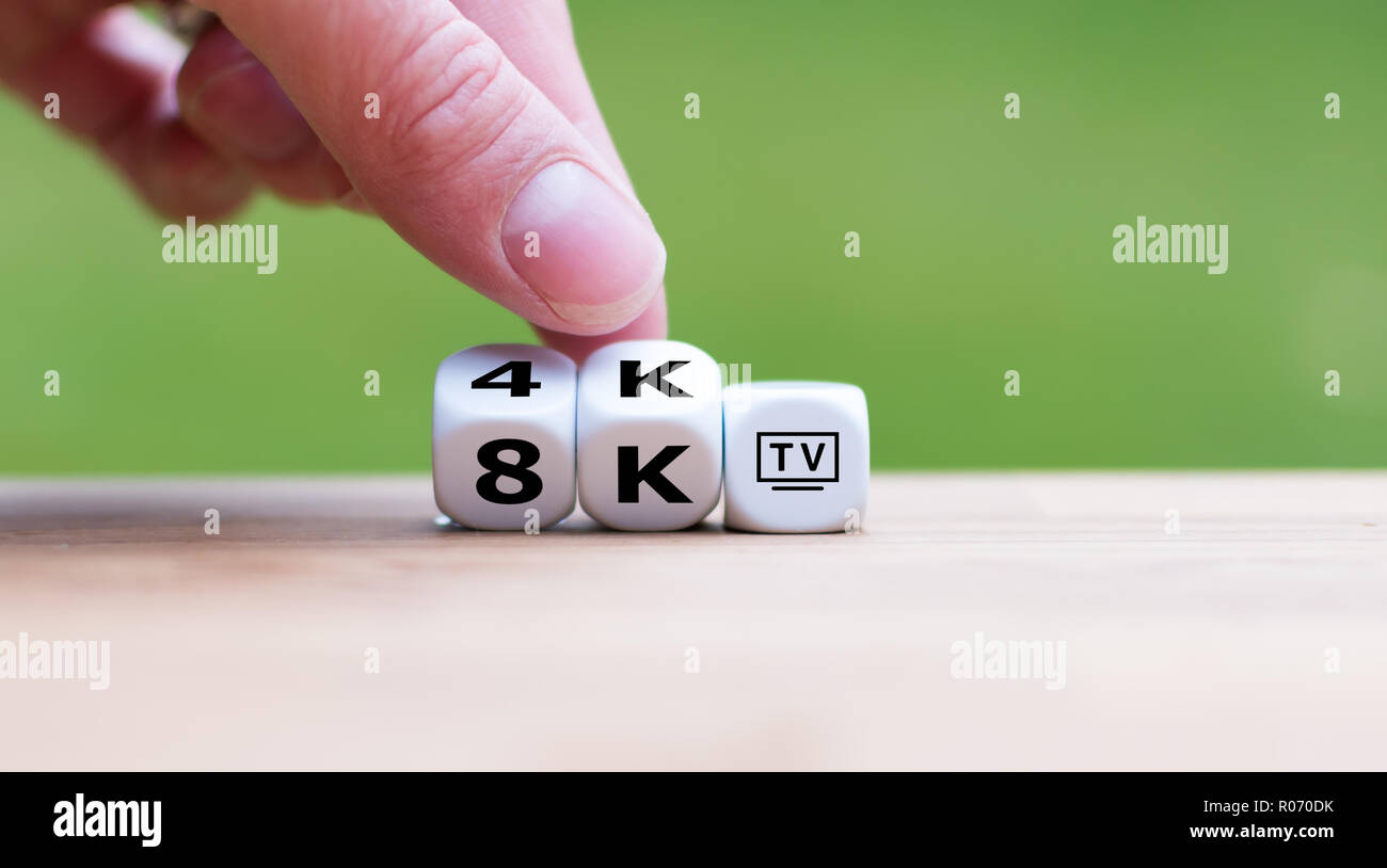 Dice symbolize the resolution of modern TV - Stock Image