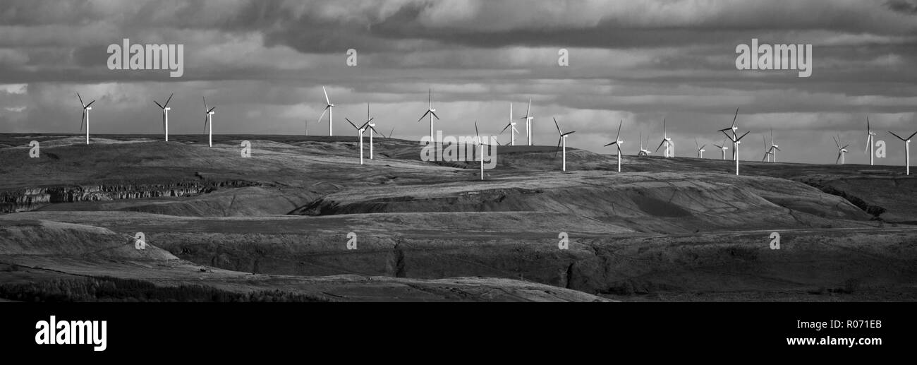A windfarm in landscape format and in black and white. Fine art print. - Stock Image