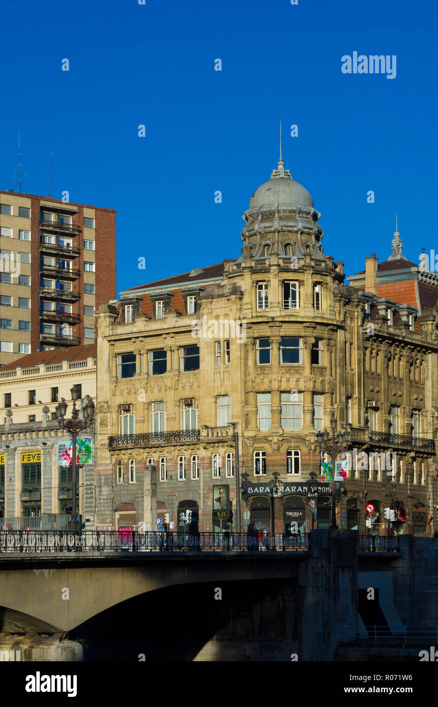 The building of the 'Sociedad Bilbaina', a leisure and culture society in Bilbao, Spain, was built by Emiliano Amann in 1913 in eclectic style. - Stock Image