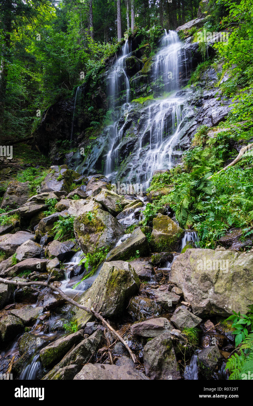 Germany, Waterfall of Zweribach in Simonswald forest in magic atmosphere - Stock Image
