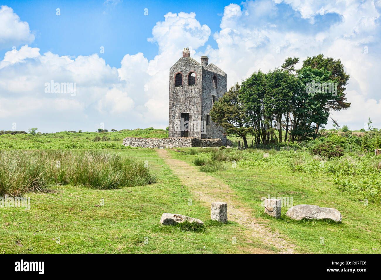 Housemans Engine House, of the South Phoenix Mine, built in 1881, a relic of the Cornish tin and copper miining industry. - Stock Image