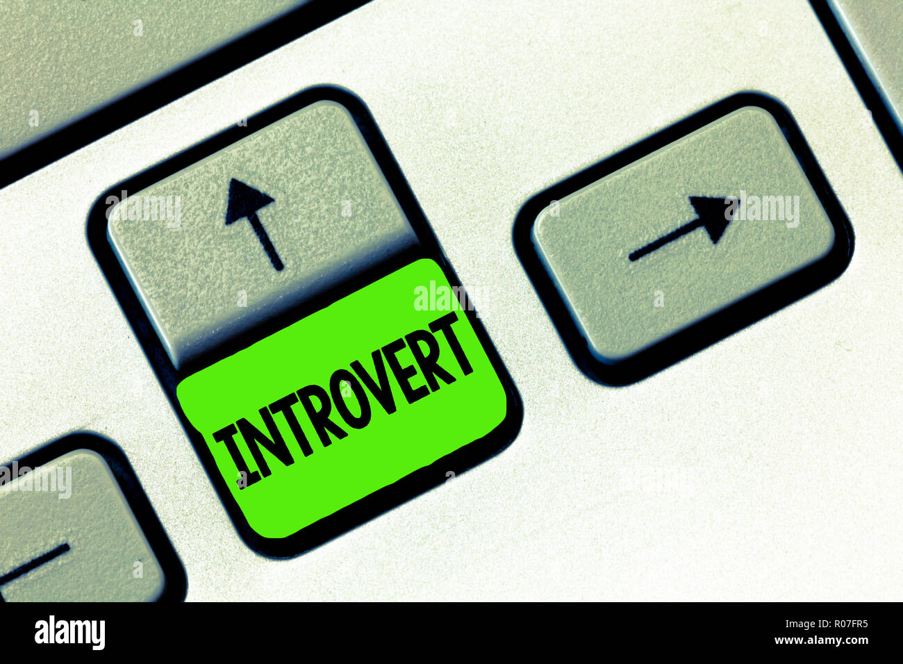 Word writing text Introvert. Business concept for tend to be inward turning or focused more internal thoughts. - Stock Image