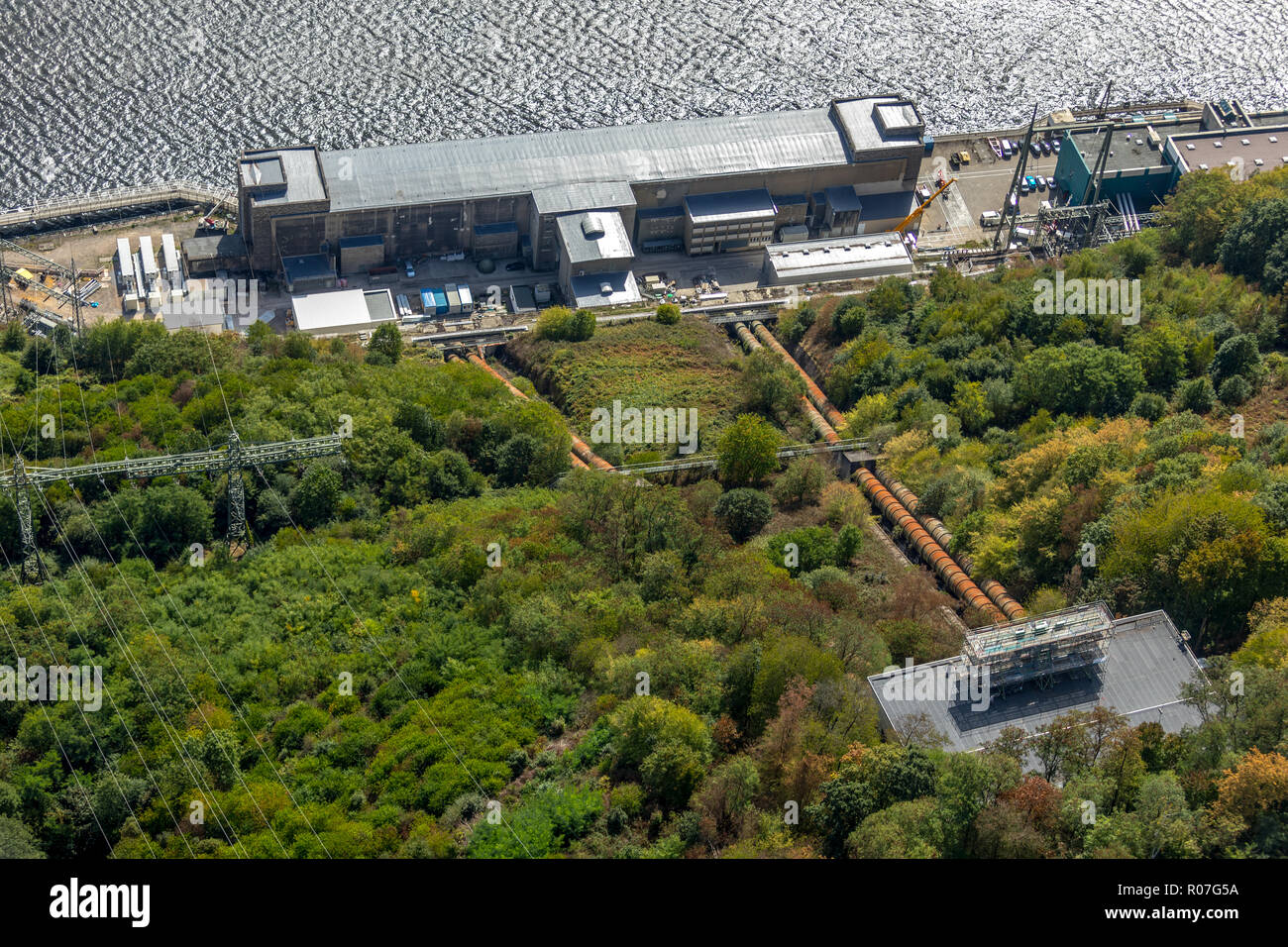 Aerial view, Hengsteysee, at the ship angle in Herdecke it goes on refurbishment, inclined lift between valve house and shore should be disabled, Herd - Stock Image