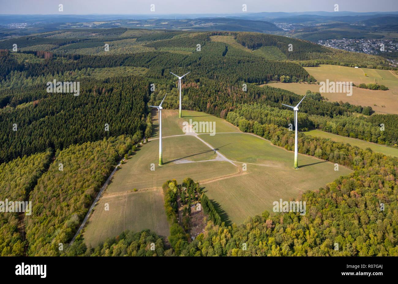 Luftaufnahme, Windkraftanlage Salchendorf, Windenergie, naturverträgliche Energie, , Netphen, Siegerland, Kreis Siegen-Wittgenstein, Nordrhein-Westfal - Stock Image