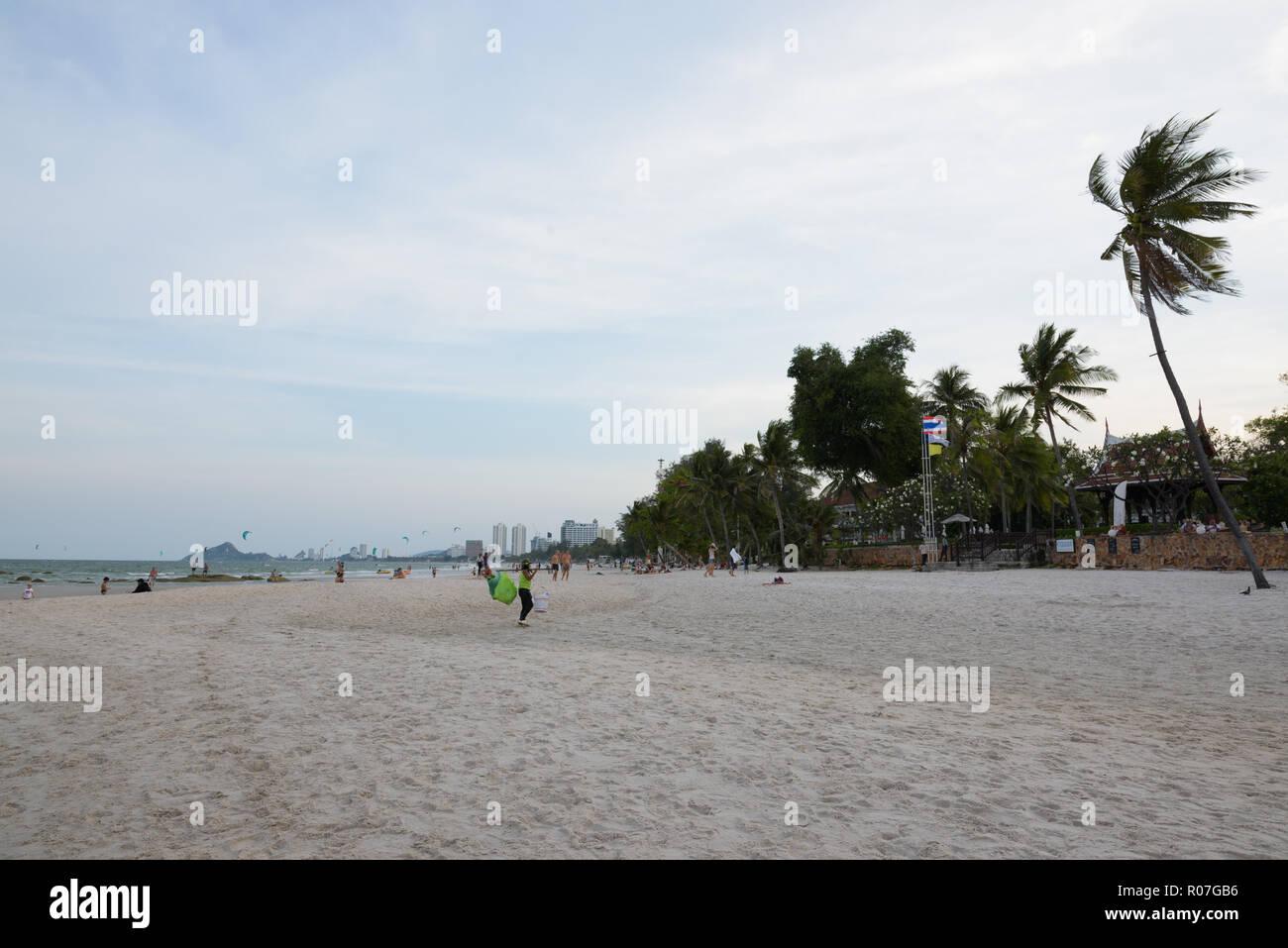 HUA HIN, THAILAND - FEBRUARY 25, 2017- Scenic view of the beach  - Stock Image