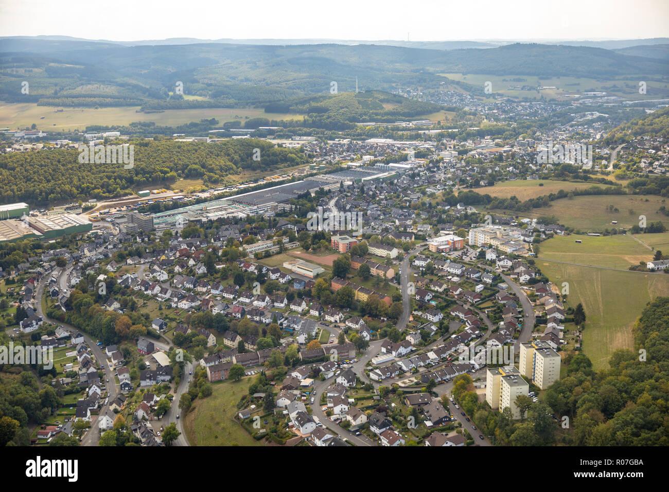 Aerial photograph, overview of Neunkirchen, SSI SCHAEFER - Fritz Schäfer GmbH, Salchendorf, Neunkirchen, Siegerland, Siegen-Wittgenstein, North Rhine- - Stock Image