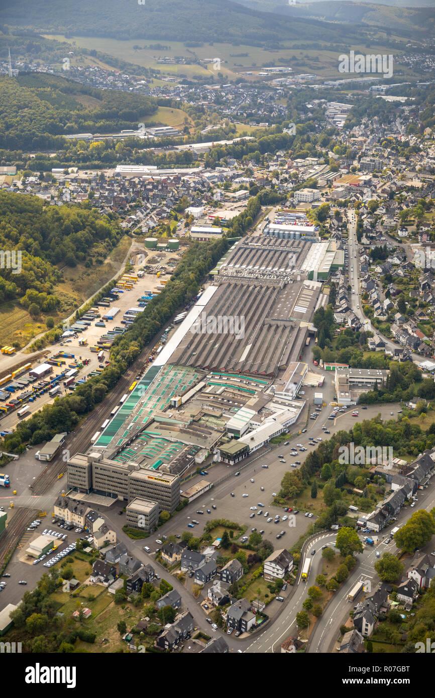 Aerial photograph, SSI SCHAEFER - Fritz Schäfer GmbH, Salchendorf, Neunkirchen, Siegerland, Kreis Siegen-Wittgenstein, North Rhine-Westphalia, Germany - Stock Image