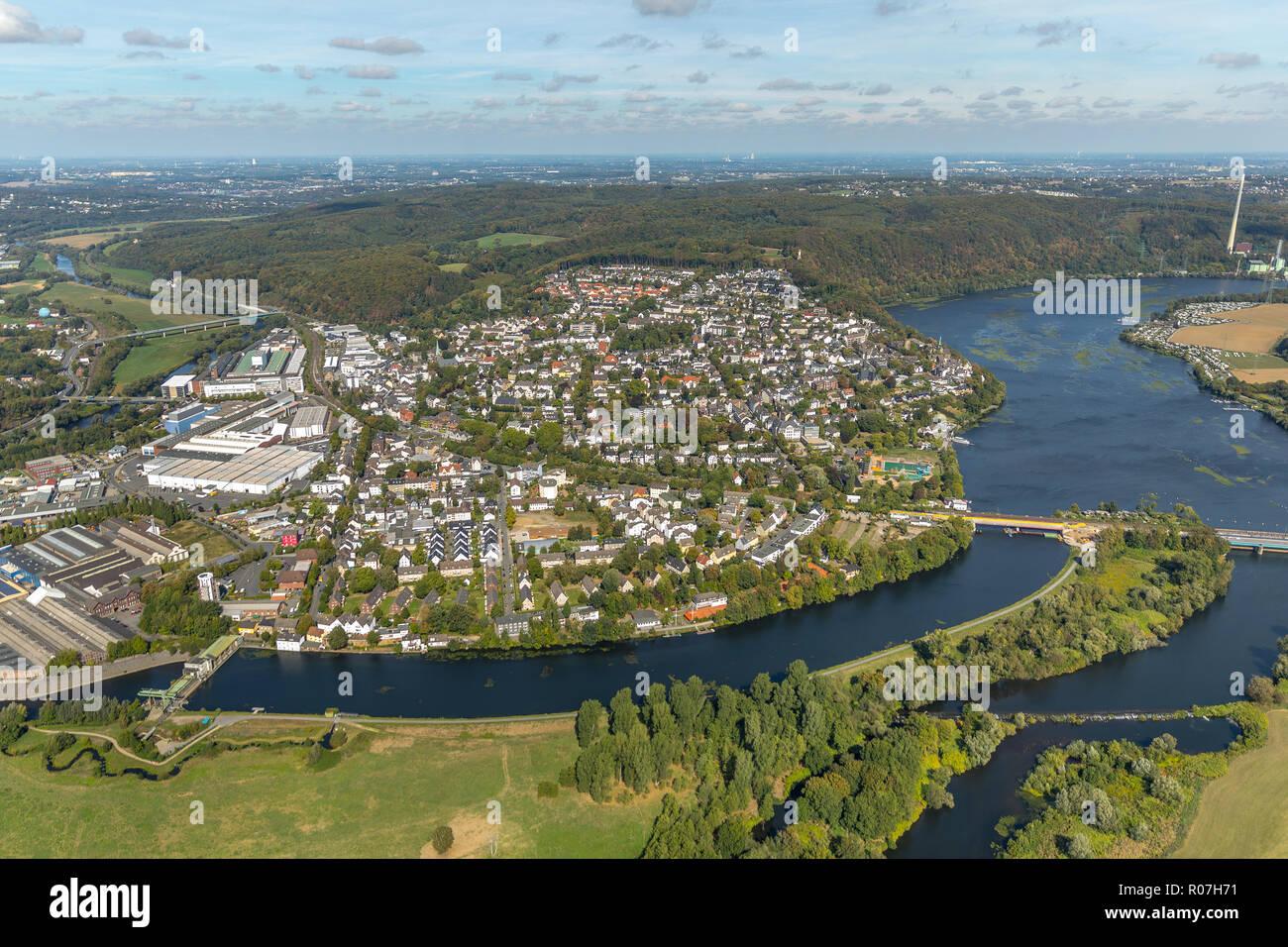 Aerial view, overview weather, Obergraben, Ruhr, Harkortsee, running water power plant, run-of-river power station, dam, bridge, industrial estate, Ru - Stock Image