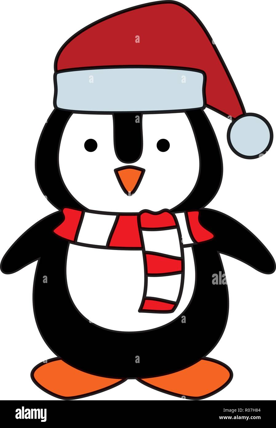 3311f682d2c4a cute penguin with santa claus hat vector illustration design - Stock Vector