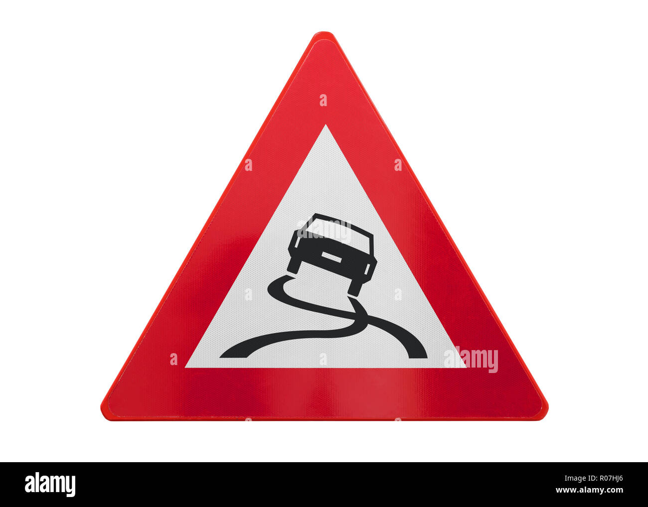 Traffic sign isolated - Slippery road - On white - Stock Image