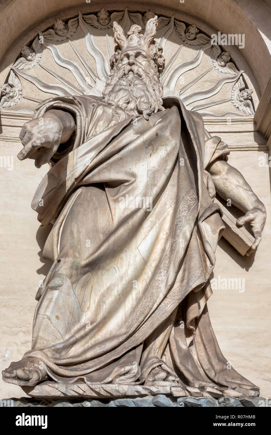 Details of the monumental Fontana dell'Acqua Felice (or Fountain of Moses), Rome Italy - Stock Image