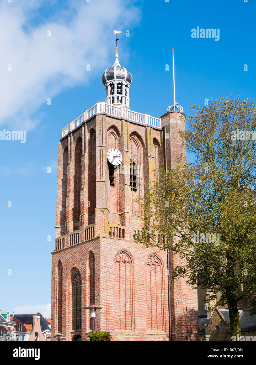 Tower of Great Saint Gertrudes Church in city centre of historic town of Workum, Friesland, Netherlands Stock Photo