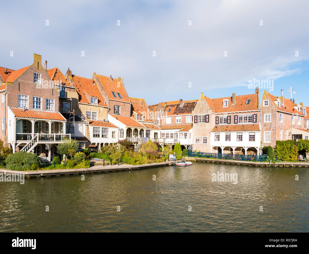 Old brick waterfront houses of De Bocht in Enkhuizen, Noord-Holland, Netherlands - Stock Image