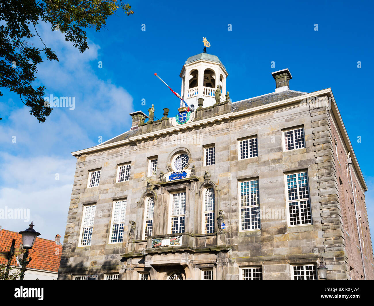 Front facade of historic town hall in city centre of Enkhuizen, Noord-Holland, Netherlands - Stock Image