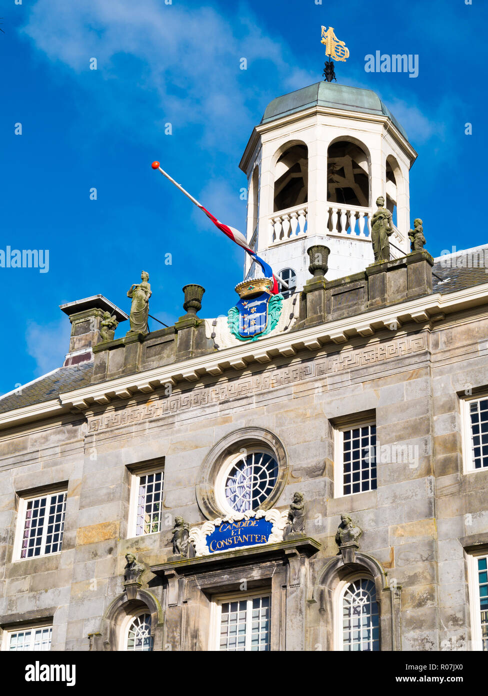 Top of historic town hall in old city centre of Enkhuizen, Noord-Holland, Netherlands - Stock Image