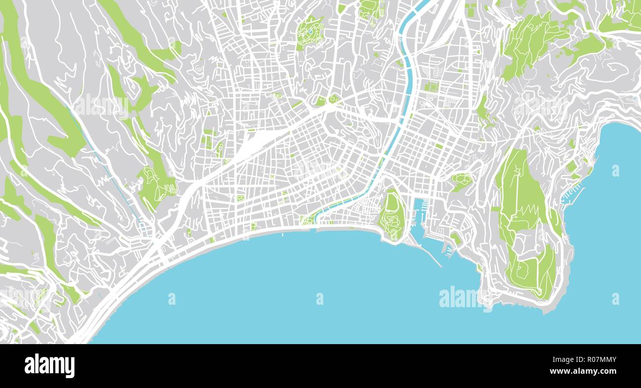 Urban Vector City Map Of Nice France Stock Vector Art