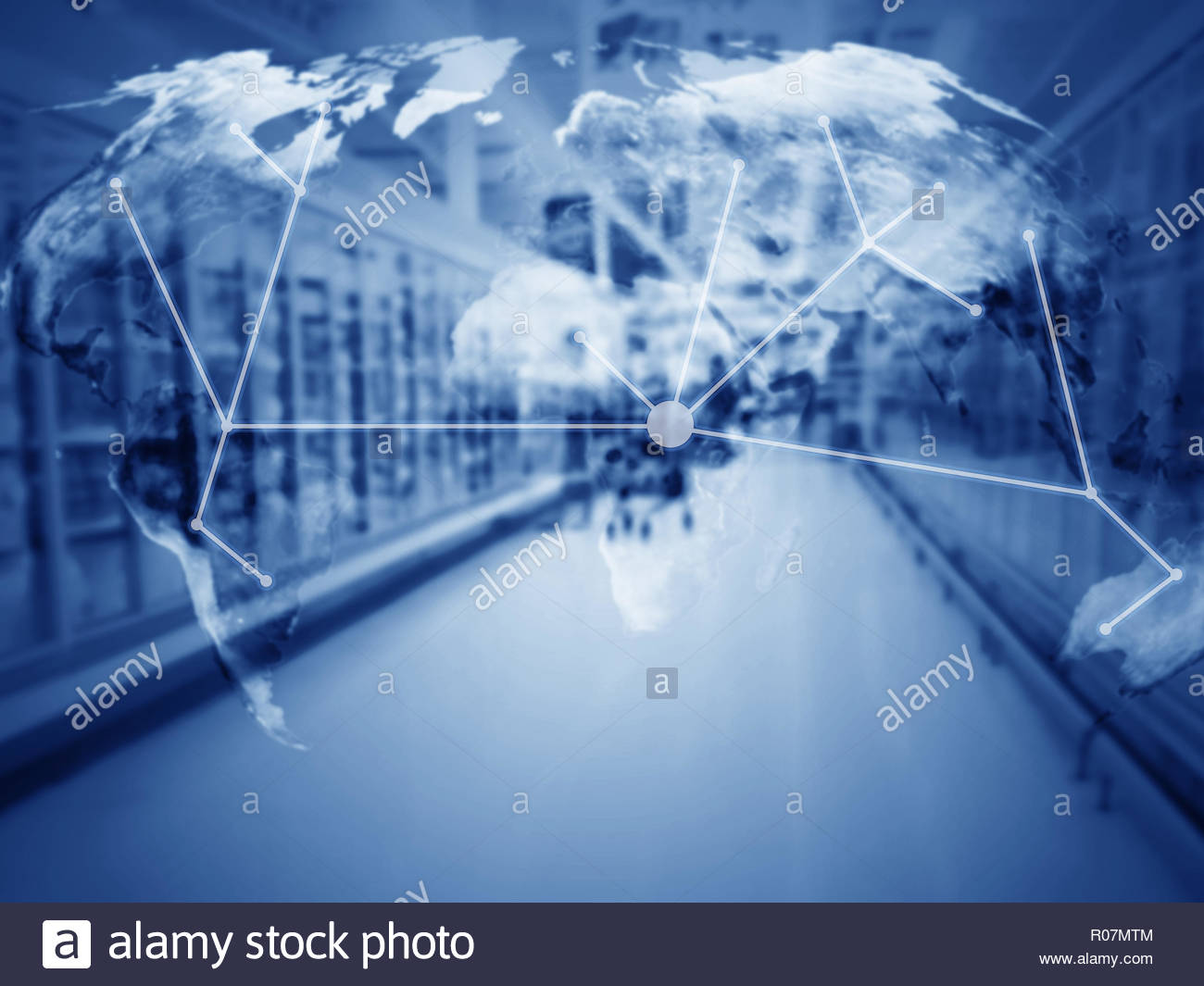 Global trading network, supply chain management concept