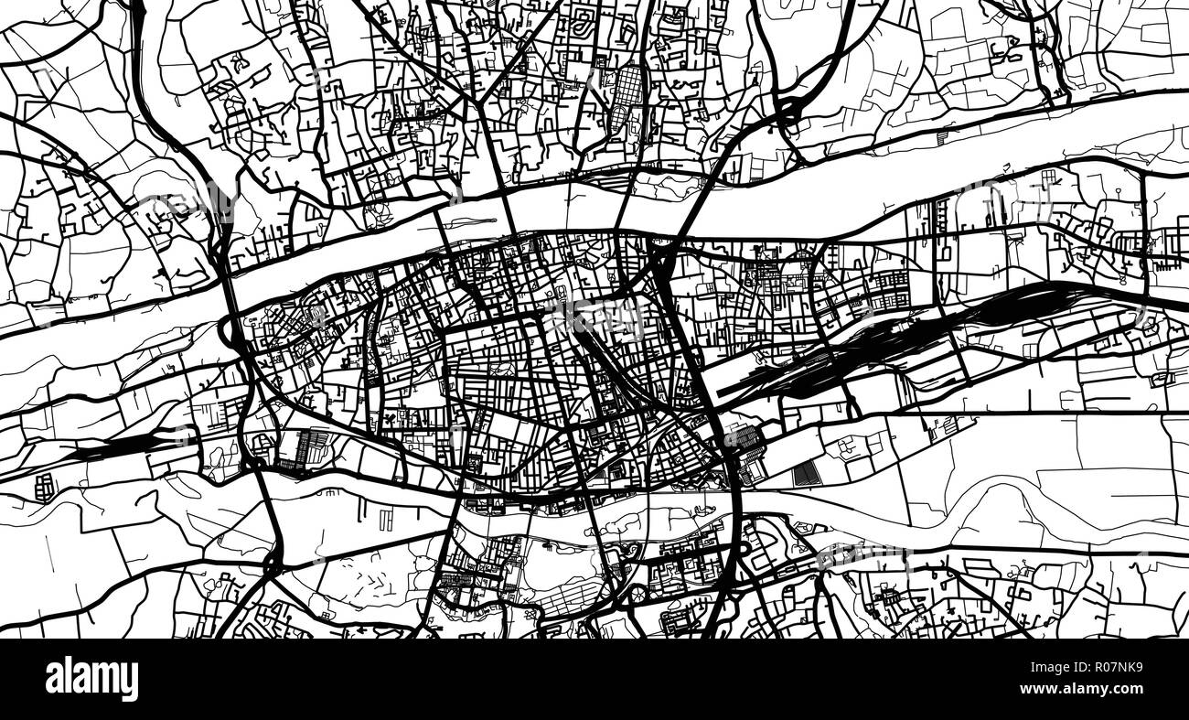 Urban vector city map of Tours, France - Stock Vector