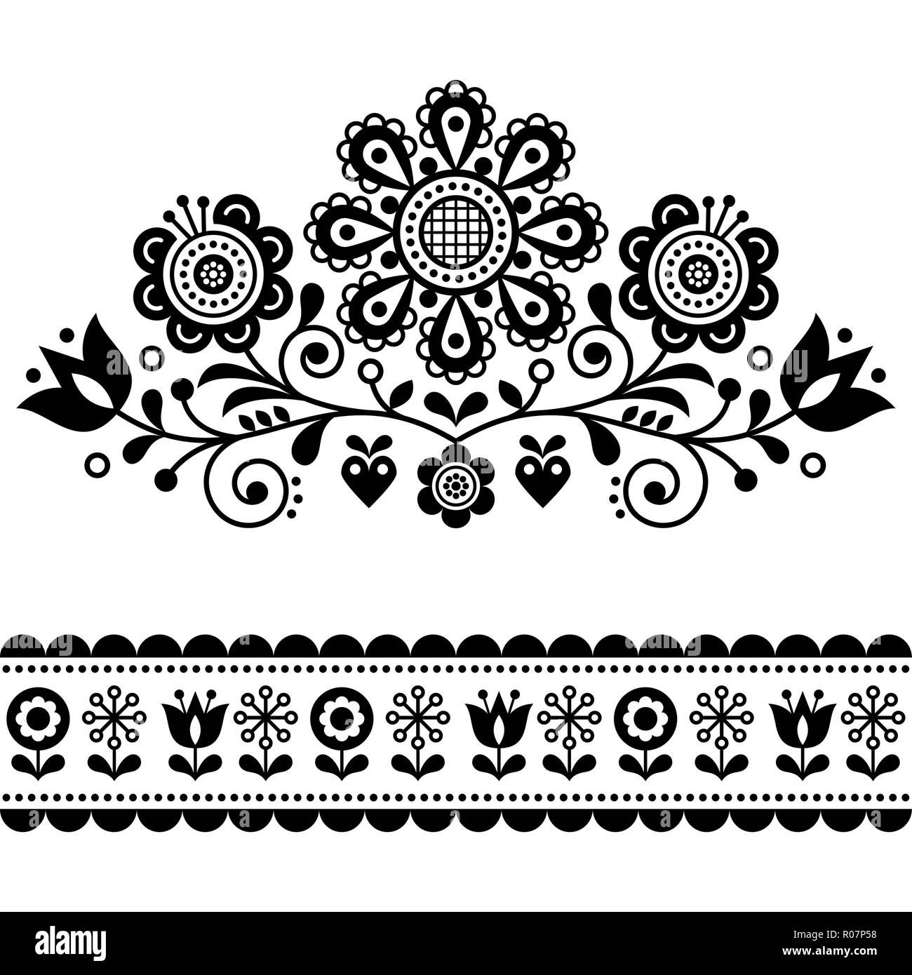 Scandinavian Vector Folk Art Pattern With Flowers Traditional Floral Frame Or Border Black And White Design Cute Monochrome Ornament Stock Image Alamy