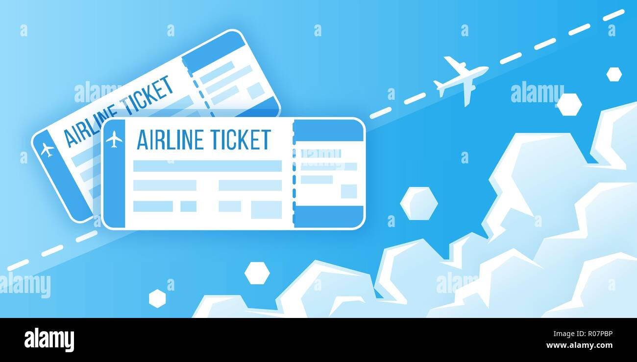 Airline boarding pass tickets. Concept of travel, journey or business. Airplane is flying in the sky. Vector illustration - Stock Vector