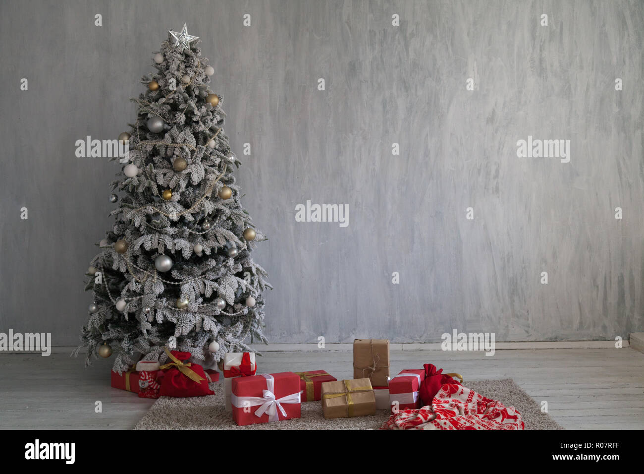 Winter Christmas New Year Tree Gifts Home Decor Stock Image