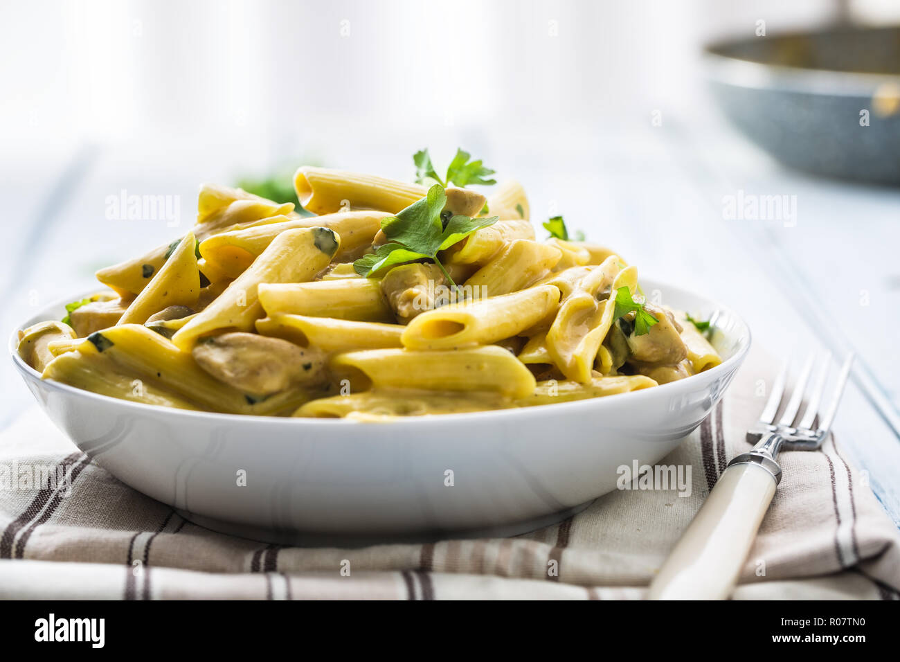 Pasta pene with chicken pieces mushrooms parmesan cheese sauce and herb decoration. Pene con pollo - Italian or medierranean cuisine. Stock Photo