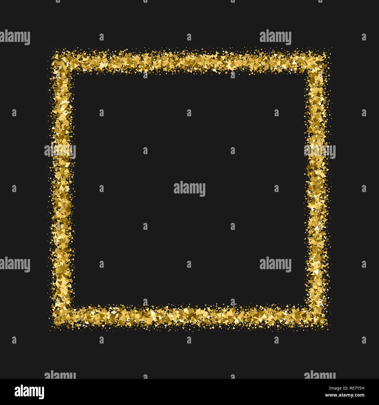 golden frame glitter texture isolated on black editable template