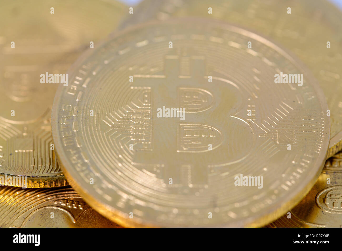 Close up Bitcoin tokens stacked, flat lay view. Cryptocurrency concept with copy space. Stock Photo