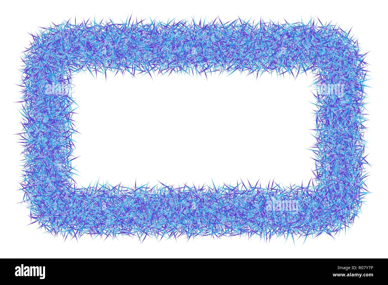 Shaggy abstract frame on white background. Fluffy border texture. - Stock Vector