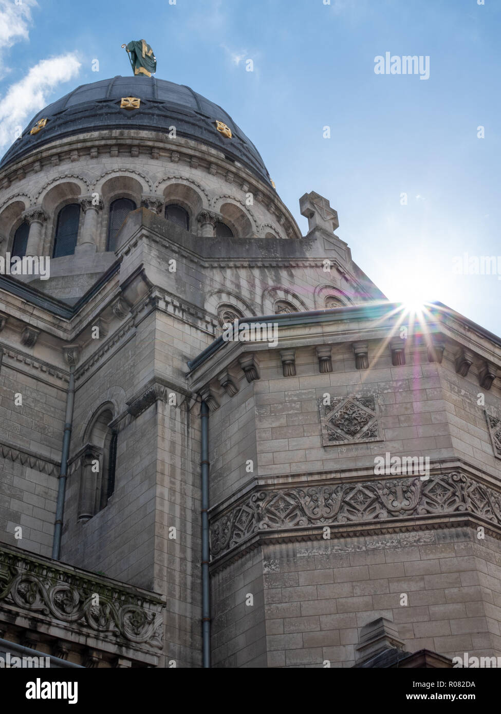 Basilica of St Martin. It's a Roman Catholic basilica dedicated to Saint Martin of Tours, in France, on whose tomb it was built. - Stock Image