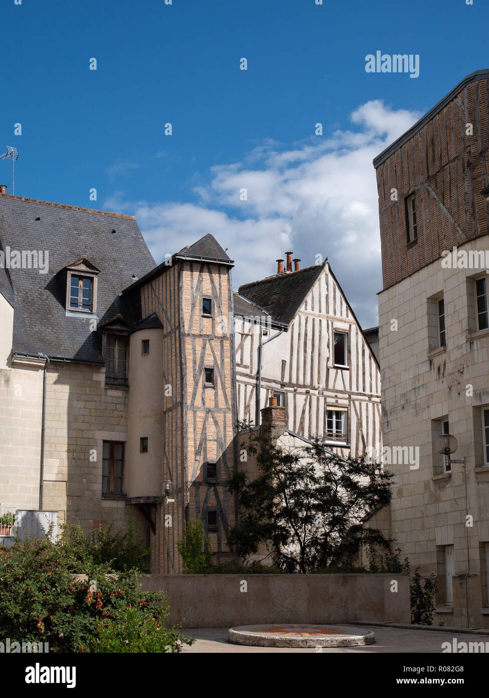 Street of the city of Tours, in the center of France. Summer. Stock Photo
