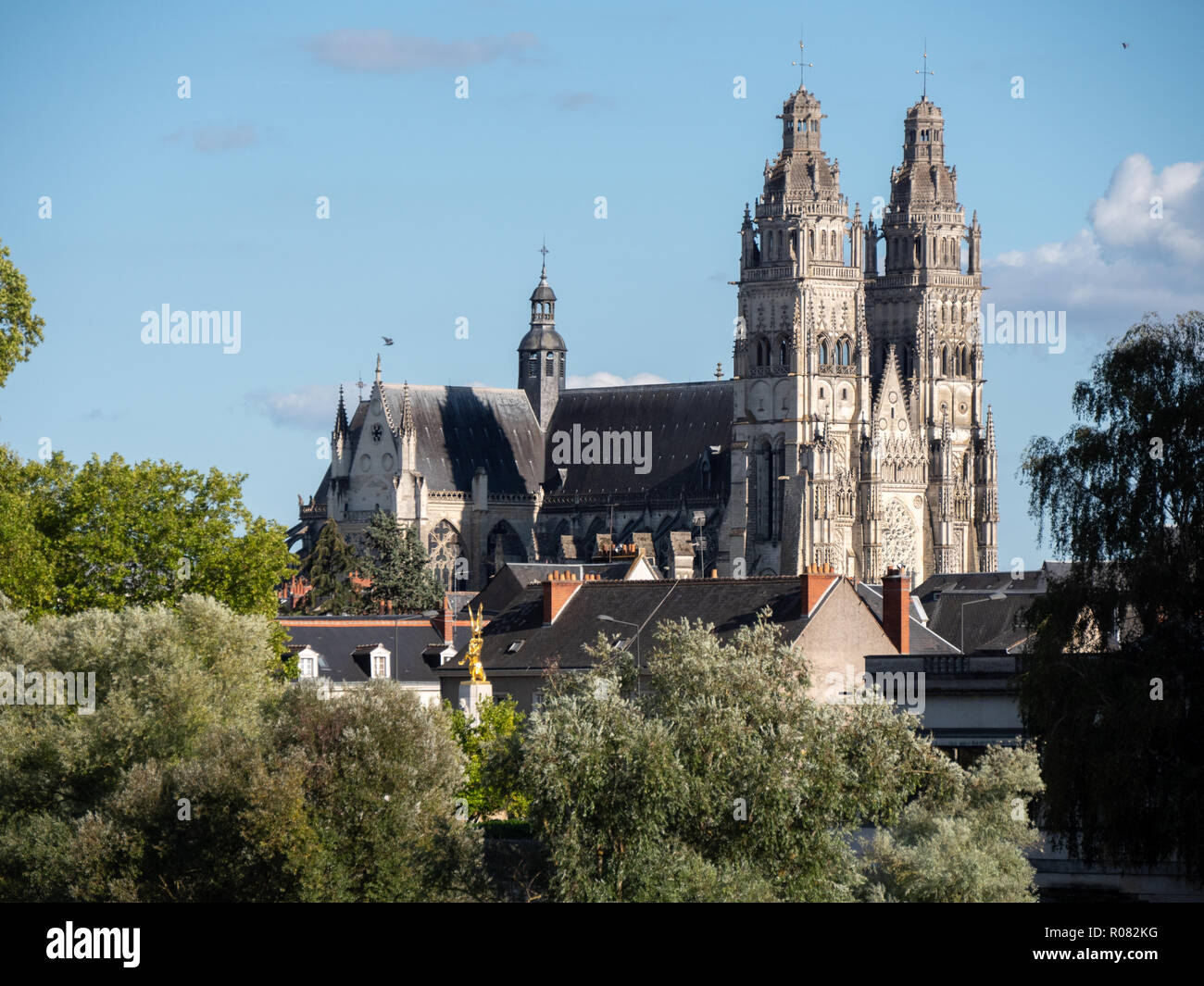 Tours Cathedral is a Roman Catholic church located in Tours, Indre-et-Loire, France. Its name in french is Cathédrale Saint-Gatien de Tours. It is ded Stock Photo