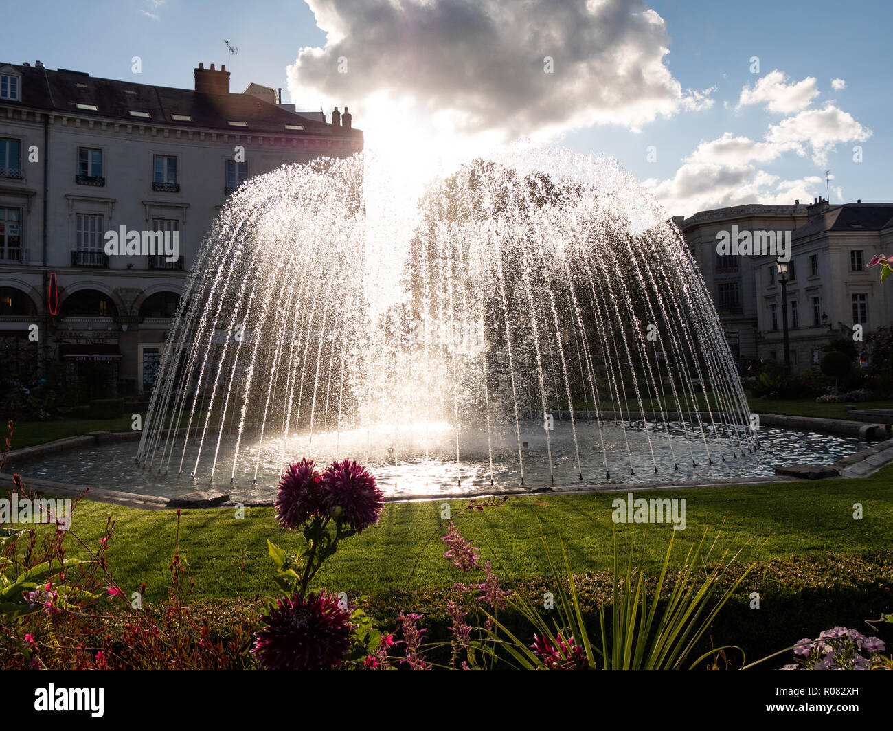 Fountain in Place Jean Jaurès, next to the town hall, in Tours, in the centre-west of France. Stock Photo