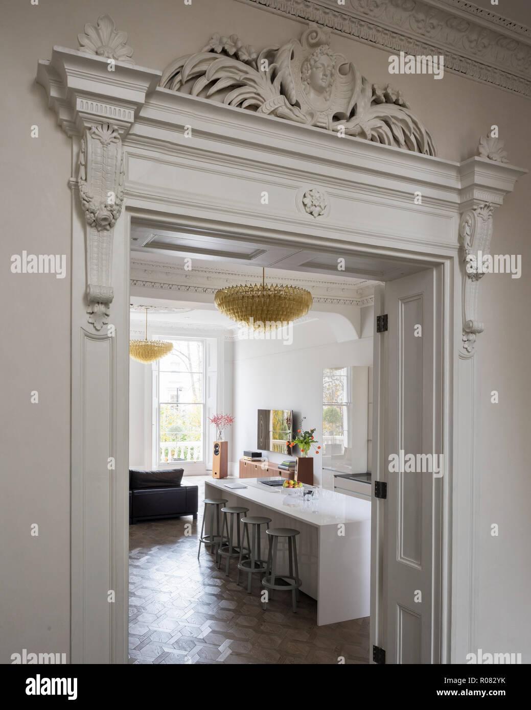 Classical doorway to kitchen - Stock Image