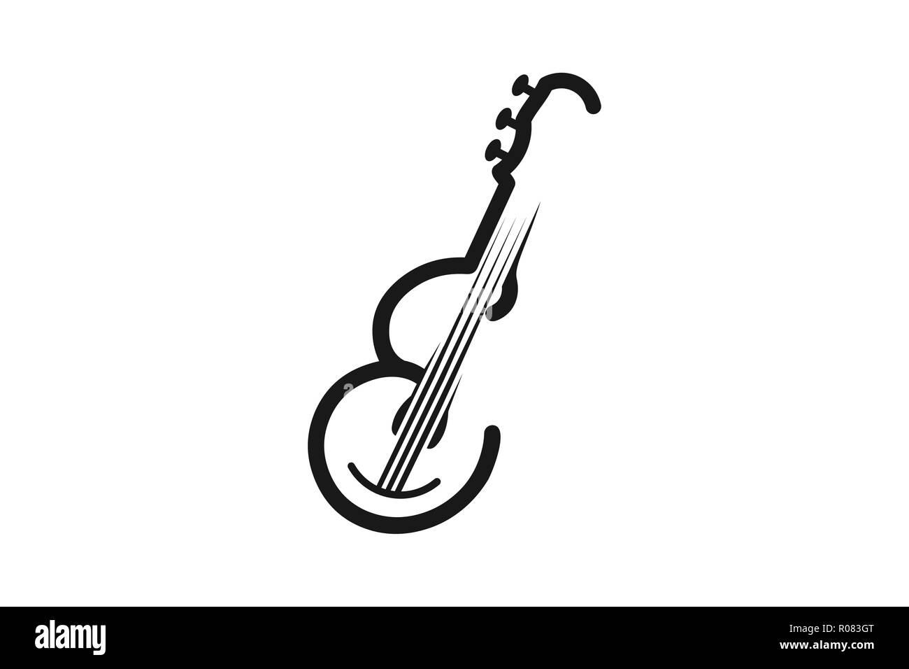 Letter E, Guitar for musical mono line Logo Designs Inspiration, Vector Illustration - Stock Vector