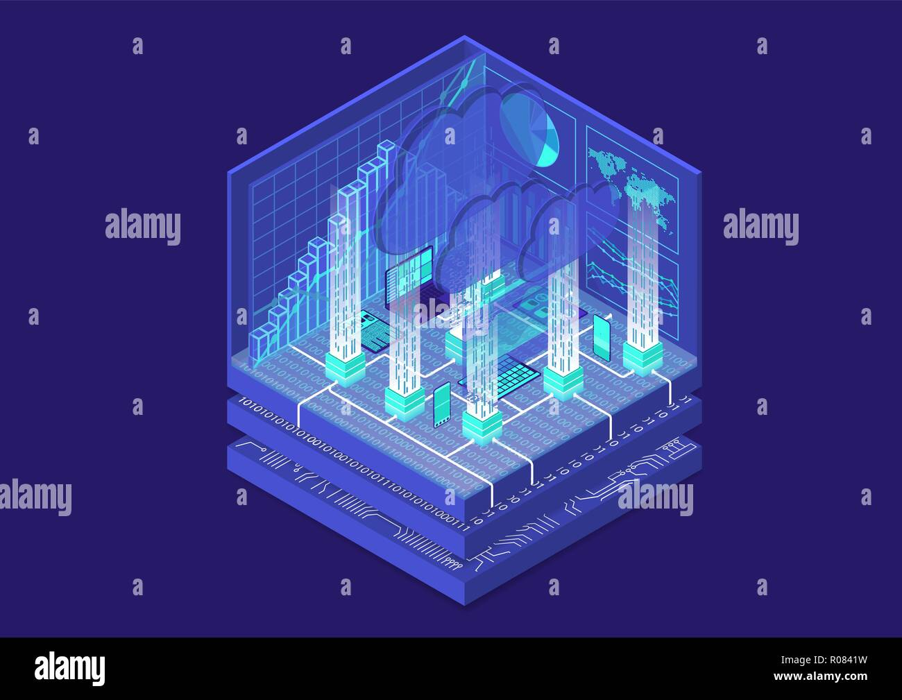Cloud Computing isometric vector illustration. Abstract 3D infographic with mobile devices - Stock Vector
