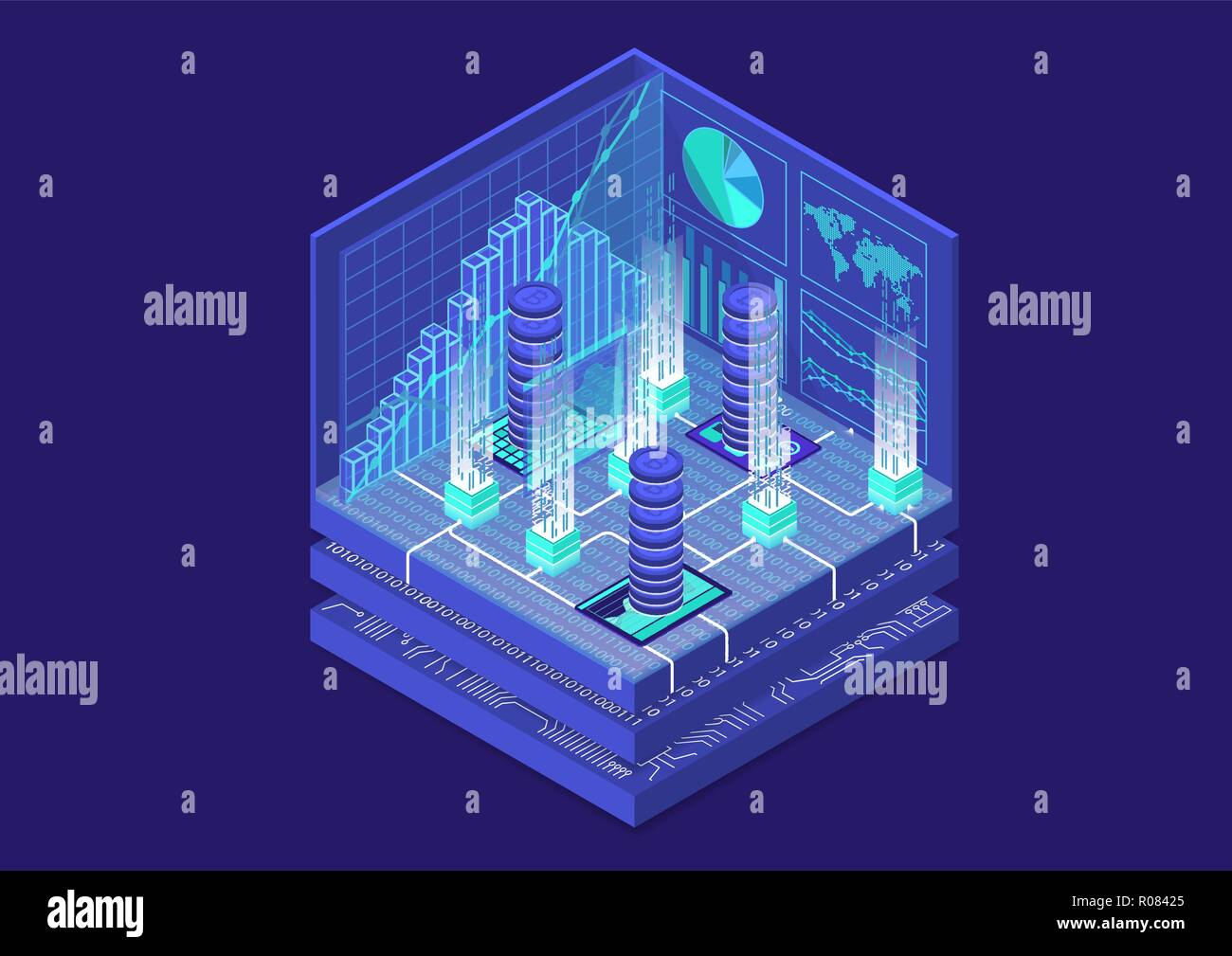 Bitcoin isometric vector illustration. Abstract 3D infographic for financial technology - Stock Vector