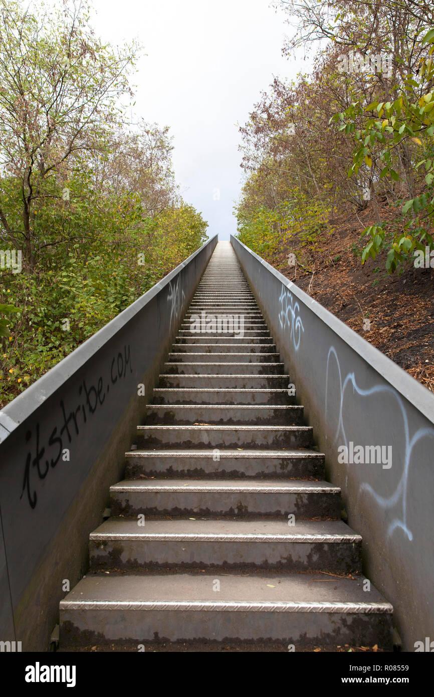 stairs to the heap Norddeutschland, Neukirchen-Vluyn, Germany.  Treppe zur Halde Nordeutschland, Himmelstreppe, Neukirchen-Vluyn, Deutschland. - Stock Image