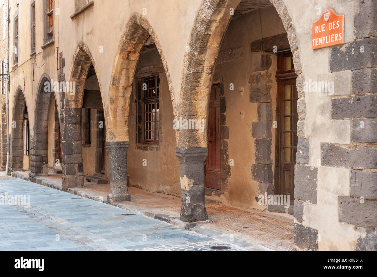Arcades in the historic Rue des Templiers, Grimaud-Village, Var, Provence-Alpes-Cote d`Azur, France, Europe - Stock Image